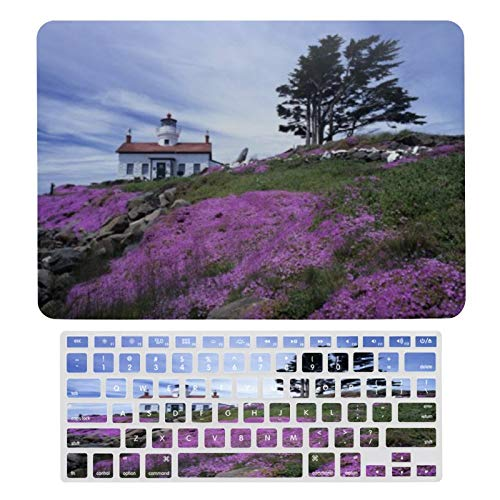 Case for MacBook Crescent City Battery Point Lighthouse Plastic Pattern Hard Case & Keyboard Cover Only Compatible with MacBook New Pro 13 touch (models: A1706、A1989、 A2159)