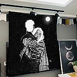 Colgante de Tela Serie de ilustración Negro Tapiz de Tela Tapiz decoración de la mesita de Noche Dormitorio de Alquiler de Tela renovación de la casa