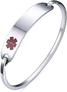 "VNOX Free Engraving-Stainless Steel Medical Alert ID Bangle Bracelet,Gold Plated/Silver,7.4""-8.0"""