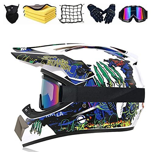 JYYT Casco Motocross Certificación DOT Casco De Moto Para Niños Downhill, ATV Motocicleta Casco Protecciones De Casco MTB Integral Set Para Downhill MTB Scooter Eléctrico Dirt Bike (G,L (59-60CM))