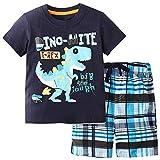 YANJJ Camiseta para Niños Traje Tela De Algodón Transpirable 2 Piezas Dinosaur Imprimir Portales A Cuadros Adecuados para Niños De 2 A 7 Años Blue-6T
