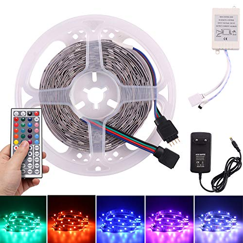 Tiras Led RGB 5M, Frontoppy 5050 LED Iluminación con 150 Leds 12V SMD,Multicolor Tira LED de Luces LED Kit Completo Con Adaptador de Alimentación 3A, Control Remoto de 44 Claves, Receptor
