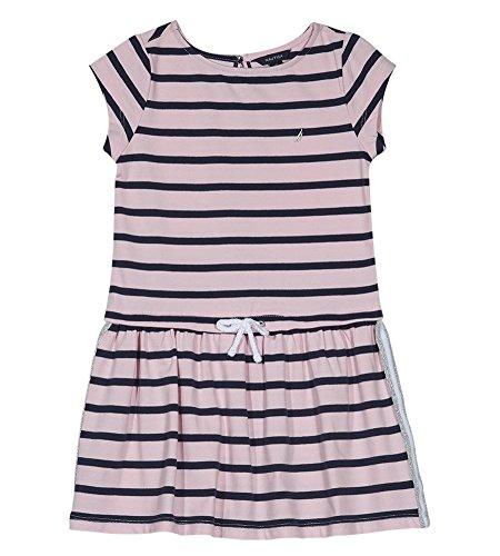 Nautica Vestido de Manga Corta para niña, Contorno Azul Marino, 6