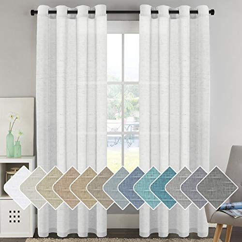 Window Treatments Linen Curtain Panels Open Weave White - Natural Linen Blended Sheer Curtains with Nickel Grommet for Living Room, Privacy Assured (52 by 96 Inch, Set of 2)