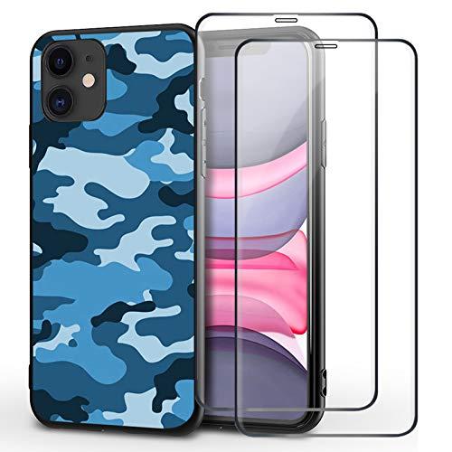 Freedon Funda compatible con iPhone 12 Pro Max, diseño de camuflaje, suave TPU carcasa ultra fina antigolpes, con 2 protectores de pantalla de cristal blindado para iPhone 12 Pro Max (D)