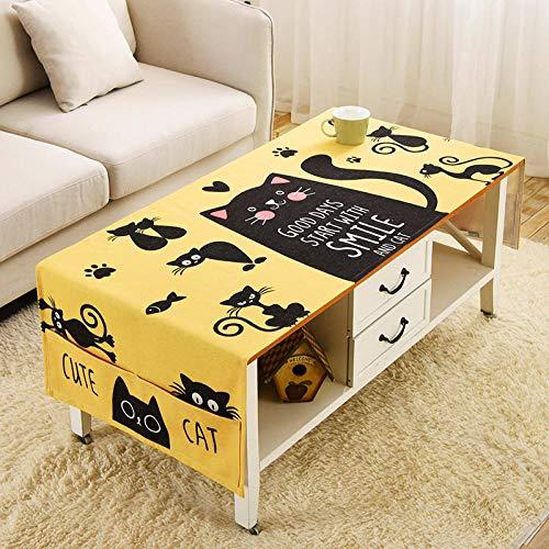 FGHOMEAQZB Nordic Cartoon Wohnzimmer couchtisch Tuch Hause tischdecke Baumwolle und leinen Platz zähler Tuch @ Gelben Boden frech cat_60 * 160 cm