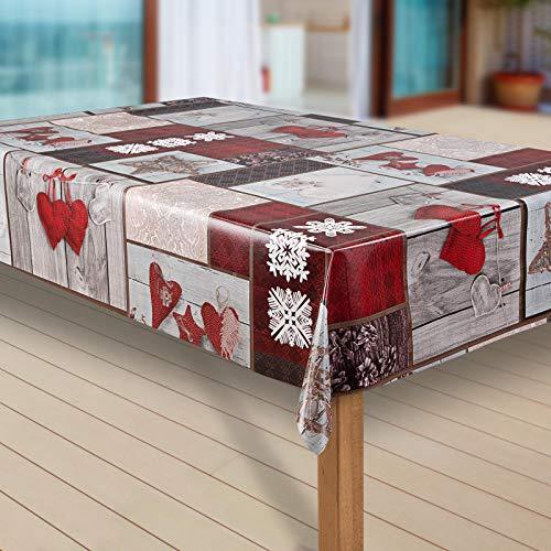 laro Wachstuch-Tischdecke Schneeflocke Weihnachten Weihnachts-Motive PVC Wachstischdecke Eckig Meterware Wasserabweisend Abwischbar GAN, Muster:Schneeflocken weinrot, Größe:100x140 cm