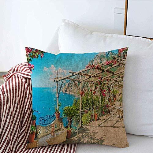 Fundas decorativas para cojines, hermosa ciudad, soleado, al aire libre, turismo, terraza, sillas de mesa, villa floreciente, vacaciones, flores, monumentos Funda de Cojine 45 X 45CM