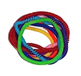 NPRC Casual Colorful Unisex Plastic Springy Bracelets Elastic Band Rubber Spring Stretchy Wristbands