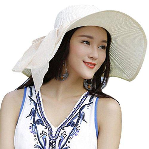 JOYEBUY Women Lady Big Bowknot Straw Hat Floppy Foldable Roll up UV Protection Beach Cap Sun Hat (Ivory White)