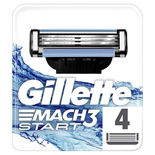 Gillette Mach3 Start Lamette di Ricarica per Rasoio Uomo, Confezione da 4 Lamette di Ricambio Rasatura Profonda