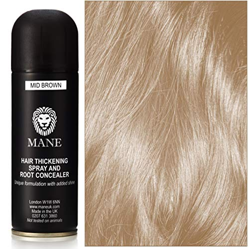 Mane Hair Thickening Spray by Mane UK - for Hair Loss and Thinning Hair and to cover grey roots Medium Brown