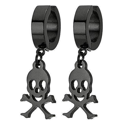 2 Negro Clip-on Pendientes del Aro con Pirata Cráneo, Non-Piercing Pendientes para Hombres Mujer, Acero Inoxidable