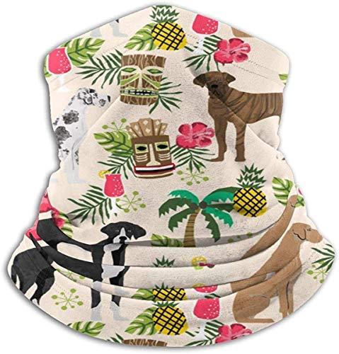 HHUAN Great Dane Dog – Tropical, diseño, lindo perro, perro, perro, crema, calentador de cuello de microfibra, polaina, bufanda mágica para el polvo al aire libre