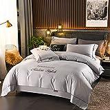 Juego de edredón con 2 fundas de almohada,Lavar el quad de seda Cuatro conjuntos de luz de lujo Bordado de lujo estándar Suministros de cama doble Suministros de seda de hielo Set Regalo-GRAMO_2.0m c