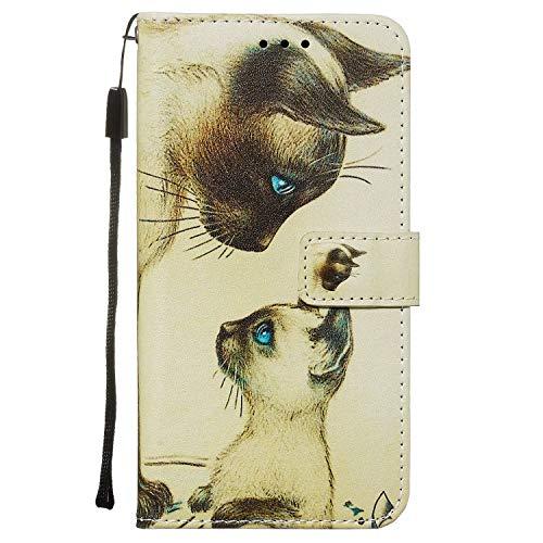Nadoli Leder Hülle für Huawei P40 Lite,Bunt Weiß Katze Malerei Ultra Dünne Magnetverschluss Standfunktion Handyhülle Tasche Brieftasche Etui Schutzhülle
