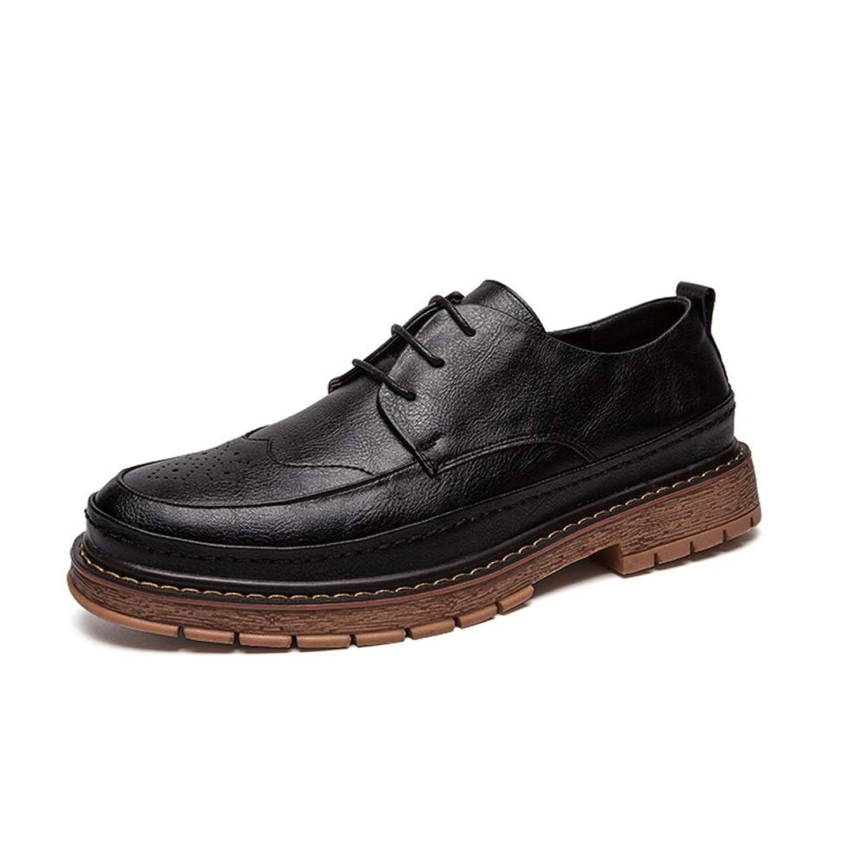 男士革靴 カジュアルオックスフォード用男性ファッションローファーレースアップ快適なスリップオンフラットシューズPUレザーアッパーラウンドトゥ耐摩耗性 個性な (Color : ブラック, サイズ : 24.5 CM)