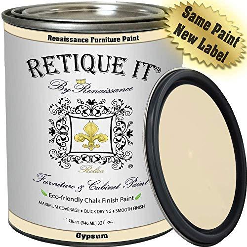 Retique It Chalk Finish Renaissance furniture paint, 32 oz (Quart), 21 Gypsum