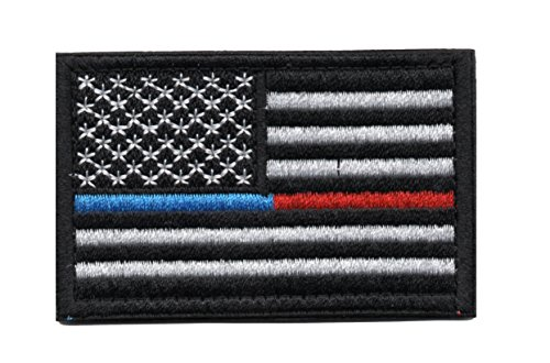 Tactical American Flag Patch Thin Blue Line Embroidered Military Uniform Emblem with Hook and Loop (Thin Blue & Red Line Black & White)