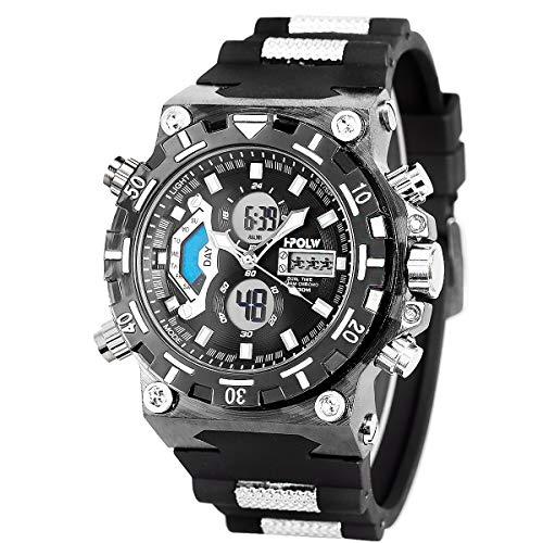 Sportuhr Digital Armbanduhr LED großes Gesicht Wasserdicht Militär Stoppuhr SIBOSUN Männer Quarzwerk Alarm Datum Schwarz