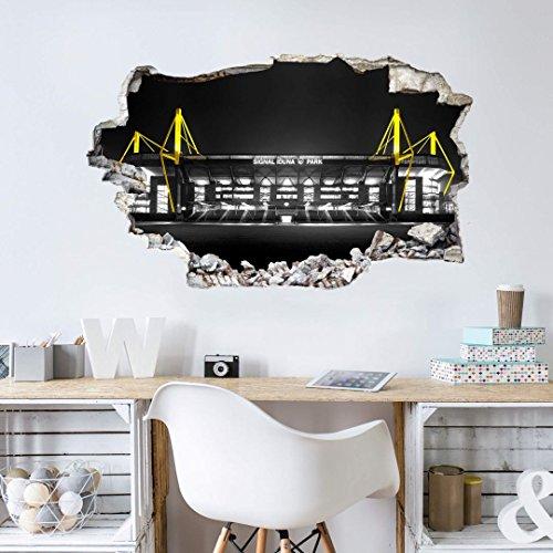 K&L Wall Art Wandsticker, Wandtattoo, Aufkleber, Poster selbstklebend - 3D Wandtattoo BVB Signal Iduna Park bei Nacht - BVB10302- Bogengröße 60x36 cm