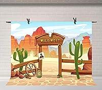 Xワイルドウェスト写真の背景西部カウボーイをテーマにしたパーティーの装飾用品子供男の子の写真ブース撮影ビニールスタジオの小道具7x5フィートBJDSFU132