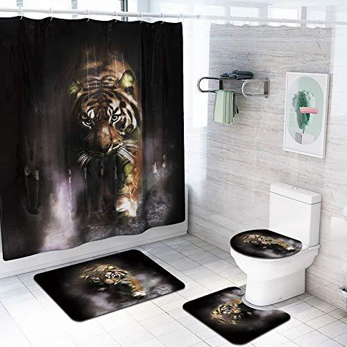 ETH Tiger Patroon Douche Gordijn Vloer Mat Badkamer Toiletbril Vierdelige Tapijt Waterabsorptie Ververvaagt Niet Veelzijdig Comfortabele Badkamer Mat Kan Machine Wassen duurzaam
