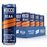 NOCCO - BCAA Pre & Post Workout Recovery Drink - Sugar Free with BCAAs Amino Acids, Low Calorie Supplement Drinks for Active Men and Women (Peach, 12 Pack)