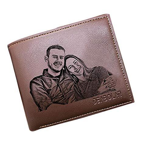 Personalisierte Herren Geldbörsen Benutzerdefinierte Foto-Geldbörsen Mannes schicke Leder Brieftasche ID Kreditkarte Foto Halter