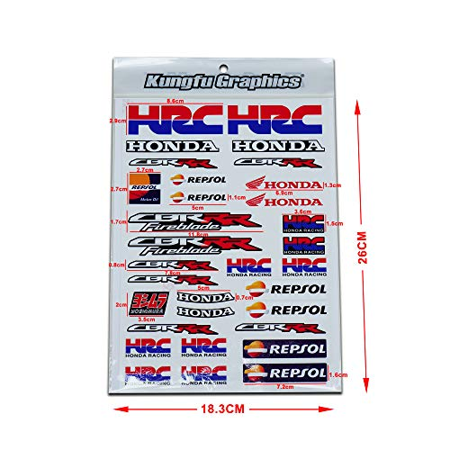 Kungfu Graphics Micro Sponsor Logo Racing Sticker Sheet Universal (7.2X 10.2 inch), Blue Red, MSS (18)