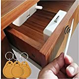 Electronic Cabinet Lock, Hidden DIY RFID Lock Electronic Cabinet Lock ,Invisible Cabinet Lock, RFID Card/Tag Card/Induction Swipe Card to Unlock,for Wooden Cabinet Drawer Locker Cupboard