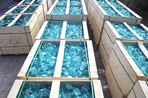 Steingrau 20kg Glasbrocken 60-120mm türkis-hell Glassplitt Dekoglas Gabionen