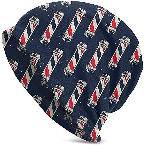 Mathillda Heren en dames Beanie hoed Vintage Barber Pole Flag Nieuw Winter Warm gebreide muts Black-5L5-3O