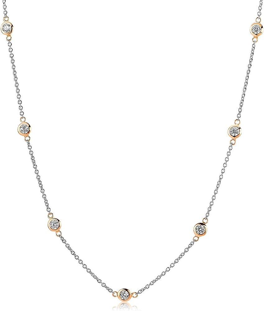 Miore, collana da donna, in argento sterling 925 placcato oro bicolore, con zirconi MSAE177N
