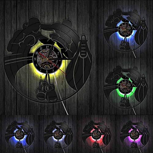 Boxen Fighting Sports Gym Decor Schallplatte Wanduhr Boxhandschuhe Boxsack Infighters Wanduhr Boxer Scrapper Geschenk