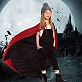 "Kbnian Unisex Capa de Vampiro Hoodie Doble Cara Negro Rojo Reversible Disfraz Disfraz Maquillaje para Halloween Mascarada Mujer Niña Niño Hombre (90cm / 35"")"