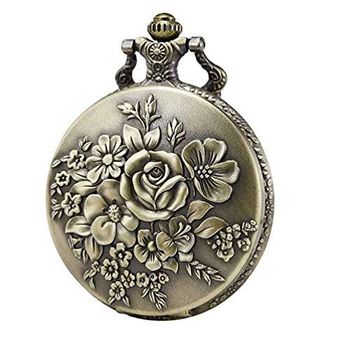 Baluue Relojes de Bolsillo de Cuarzo Retro Reloj Fob de Flores Collar Relojes de Cadena Reloj Colgante Decoración para Mujeres (Bronce)