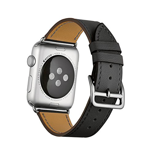 Apple Watch Band, Wollpo® 38mm Genuine Leather Smart Watch band Replacement With Adapter Metal Clasp for Apple Watch iWatch All Models--(Single Tour Black-38mm)