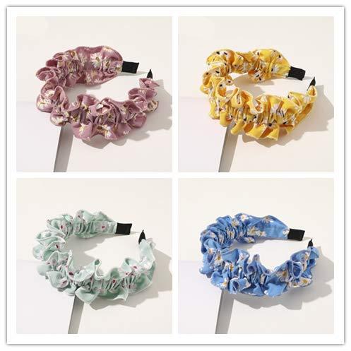 Bandeau Pour Filles Femmes Cheveux À Volants Cerceau Couvre-Chef Cerceau Dot Plaid Floral Imprimer Élastique Cheveux Accessoires