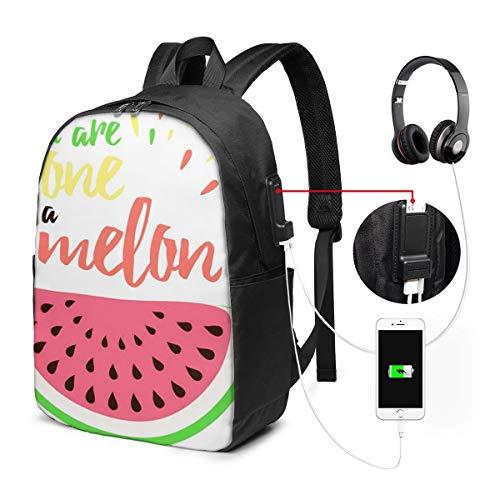 WEQDUJG Mochila Portatil 17 Pulgadas Mochila Hombre Mujer con Puerto USB, Amor Emocional sandía Usted Mochila para El Laptop para Ordenador del Trabajo Viaje