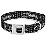 Buckle-Down Seatbelt Buckle Dog Collar - CHALLENGER Repeat w/Text Black/White - 1' Wide - Fits 11-17' Neck - Medium