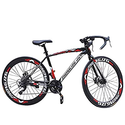 LYBOHO Outdoor Road Bike Mountain Bike for Men Women, Commuters Aluminum Full Suspension Road Bike Shimanos 21 Speed Bicycle Outdoor Cycling Adult Student Bicycle Disc Brakes, 700c