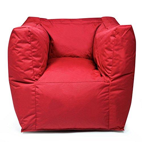 Valley Plus Outdoor zitzak, weerbestendig, vorstbestendig, kruk, tuinstoel, tuinstoel, tuinstoel, tuinligstoel, tuinligstoel, voor buiten en buiten, tuinmeubelen, moderne look ca. 90 x 65 x 60 cm rood