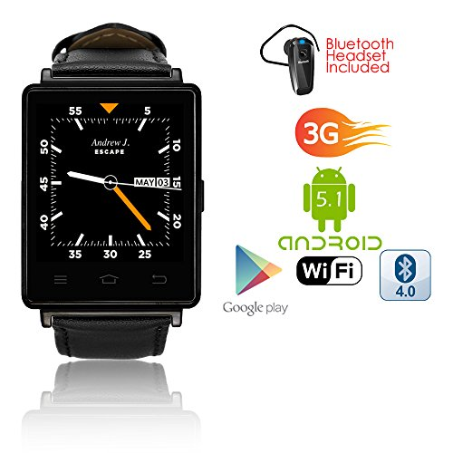 Indigi 2017Android 5.13G sbloccato Smartwatch & Phone WiFi + GPS (mappe) + cardiofrequenzimetro + Google Play Store + Bluetooth Headset