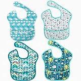 Baberos de bebé unisex impermeables lavables baberos de alimentación baberos absorbentes baberos para niños niñas Toddle niños 6-24 meses, resistentes a las manchas y el olor