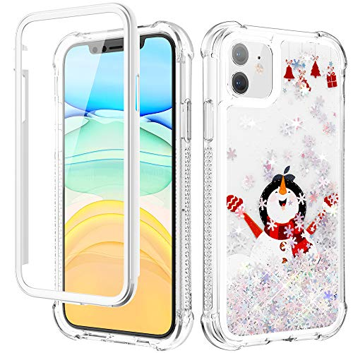 Caka Christmas Case for iPhone 11, iPhone 11 Christmas Case Glitter Liquid Full Body Protection with Screen Protector for Girls Women Girly Bling Protective Case for iPhone 11 6.1 -White Snowman