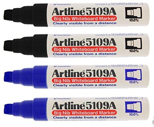 Artline 5109A gran punta 10mm extra gruesa de borrado en seco Marcadores de rotuladores para pizarra blanca, 4(2negro, 2azul)