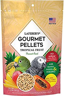 LAFEBER'S Premium Tropical Fruit Pellets Pet Bird Food, Made with Non-GMO and Human-Grade Ingredients, for Parrots, 1.25 lbs