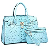 Women Handbags and Purses Ladies Shoulder Bag Ostrich Top Handle Satchel Tote Work Bag with Wallet (Turquoise)