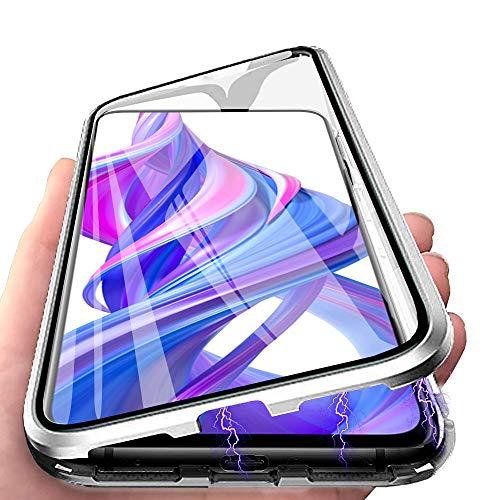 HülleLover Huawei P30 Pro Hülle, Handyhülle für Huawei P30 Pro New Edition Hülle Magnetic Adsorption, 360 Komplettschutz Schutzhülle Clear Doppelseitige Aus Gehärtetem Glas Metall Flip Tasche, Silber
